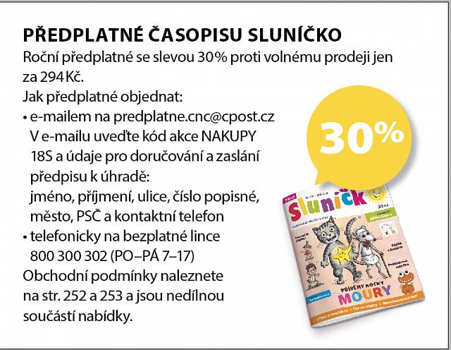 Obrázek kupónu - PŘEDPLATNÉ ČASOPISU SLUNÍČKO