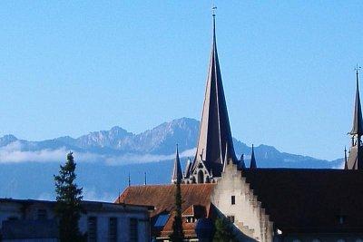 Panorama - Pohled z Lausanne přes jezero. (nahrál: Máca)