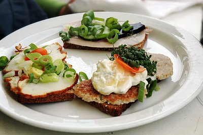"""The famous Danish \""""smørrebrød\""""  - Smørrebrød is the traditional Danish open-faced sandwich. Usually it is made with dark rye bread, and topped with the most diverse variety of things: meats, fish, eggs, vegetables, you name it.  (nahrál: Veronika)"""