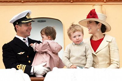 Prince Frederik and Princess Mary - Prince Frederik and Princess Mary with their children Prince Christian and Princess Isabella at the royal yacht Dannerbrog in June 2008.