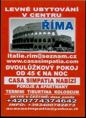Řím ubytování - Nabídka levného ubytování v Římě (nahrál: paolo)