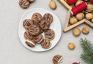 Ořechová kolečka s vanilkovým krémem bez lepku