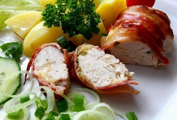 Kuřecí prsa v slanině
