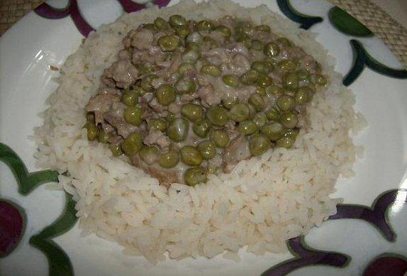Vepřové maso s hráškem na smetaně