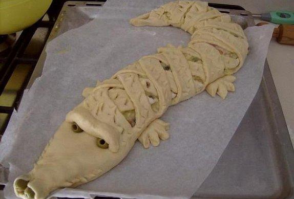 Slaný krokodýl z majonézového těsta