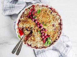 Ovesný koláč s brusinkami (brusinkový crumble)