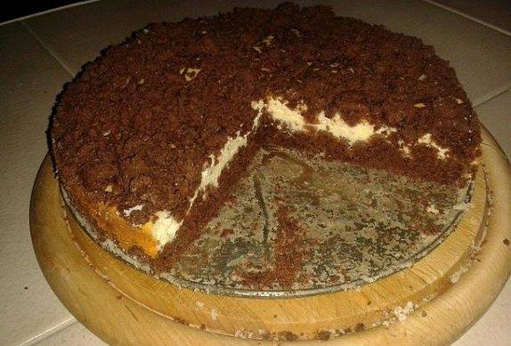 Drobenkový kakaový koláč s tvarohem