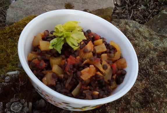 Černá čočka se zeleninou - salát nebo příloha