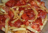 Smetanové maso na paprice s bramborem - pečené