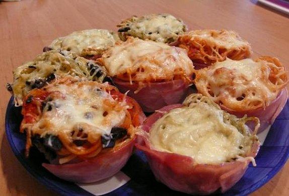 Šunková hnízda se špagetami photo-0