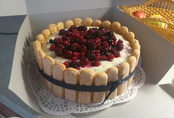 Tvarohový dort s malinami II.